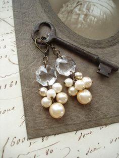 CHAMPAGNE BUBBLES - Chandelier Crystal Earrings with Luscious Old Bohemian Glass Pearls. Upcycled Salvaged Vintage Assemblage Jewelry.. $42.50, via Etsy.