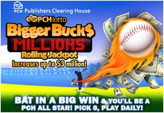Publishers Clearing House - Google+..... The Bigger Bucks Rolling Jackpot grows larger every day with the chance to reach up to $3 Million. Be sure to play daily for YOUR chance to win! http://bit.ly/PCHLotto__FB.