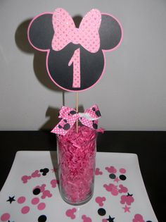 Minnie Mouse Centerpiece Picks  Hot Pink  Set by YourPartyShoppe, $8.00