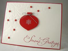 Christmas card using embossing folder and ornament punch