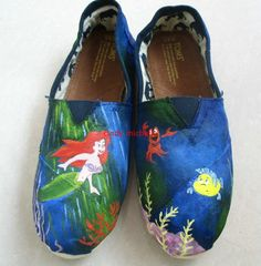 custom toms  the Little Mermaid TOMS shoes Hand-painted on toms shoes. , via Etsy... MOOOOMM  @Leslie Lippi