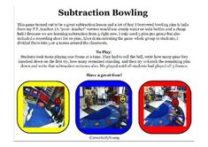 Subtraction Bowling! This was a great game to play with my kindergarteners to help them understand the concept of subtraction. The game could also be reversed to practi...