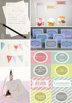 A selection of 20 fabulous + free wedding printables. Everything from invitations and cake toppers to table numbers and escort cards!