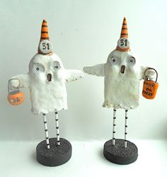 Trick or Treat Halloween Ghost with Treat Bag Original clay folk art sculpture.