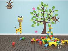 Wall Decal Tree with Animals Monkey Giraffe Birds Vinyl - Nursery Decals Baby Room.