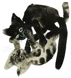 cats, cat art, art illustrations, kitten, josef wilkon