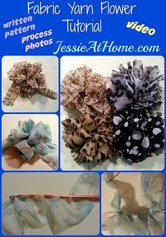 Fabric Yarn Flower Crochet Tutorial by Jessie At Home