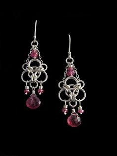 chainmaille earrings with chain and beads