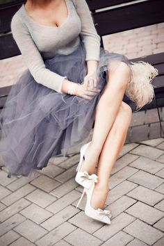 fashion, tulle skirts, style, outfit, pump, grey, heels, bow, shoe