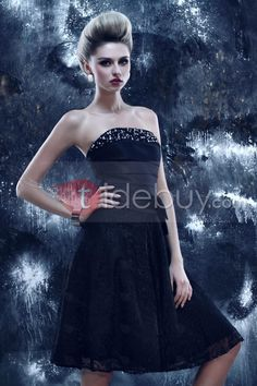 Bright A-Line Knee-Length Strapless Dasha's Prom Dress