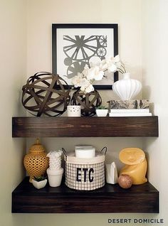 DIY $15 Chunky Wooden Floating Shelves - perfect for powder room or bathroom! By @Caitlin Ketcham