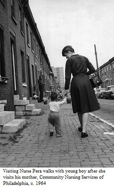 Visiting Nurse Pera walks with young boy after she visits his mother, Community Nursing Services of Philadelphia, c.1964. Image courtesy of the Barbara Bates Center for the Study of the History of Nursing.