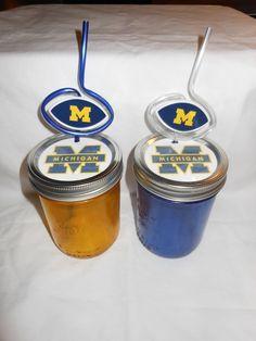 Michigan mason jars & straws. Too cute! #UltimateTailgate #Fanatics