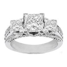 2.00 Carats Princess Cut Three Stone Diamond Engagement Ring on 14K White Gold