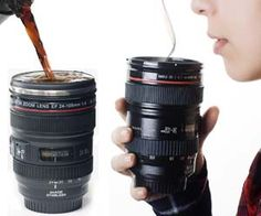 Camera lens coffee mug $25! This website is so freaking cool!