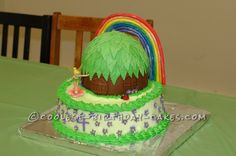 Cool Tinkerbell Cake with House and Rainbow...
