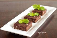 No Bake Fresh Mint Dark Chocolate Brownies Recipe ( grain free, gluten free, dairy free, egg free, Paleo) by LivingHealthyWithChocolate.com