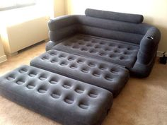 Inflatable pull-out sofa. This would be awesome to have in a dorm room.