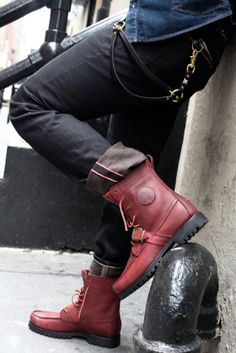 Mens Fashion: Red Boots and Black Jeans