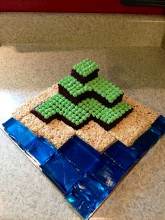 Minecraft cake I made for my sons birthday.... Rice Krispies, Jello, and homemade buttercream icing