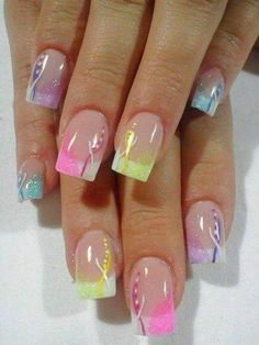 Pastel Nails #frenchmani #pink #yellow #nailart - bellashoot.com