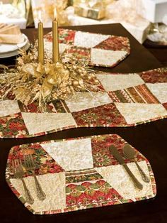 neat fall table, tabl runner, quilt, table toppers, triplet, sewing rooms, placemat, table runners, place mats