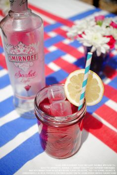 Smirnoff Sorbet Light Raspberry Pomegranate and cranberry juice drink recipe with 1.5 oz Smirnoff Sorbet Light Raspberry Pomegranate and 3 oz cranberry juice. Combine ingredients in an ice-filled glass, garnish with a lemon wheel. #Smirnoff #drink #recipe #SmirnoffSorbet #Pomegranate #Raspberry #July4 #FourthofJuly