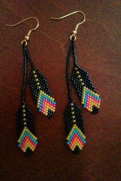 Beaded Feather Earrings. #beadwork via Etsy. #beadwork