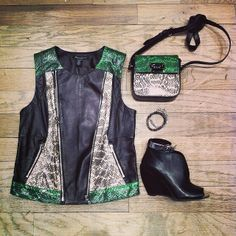 There's always a way to add leather accents to your spring wardrobe. We're loving this snakeskin vest- guaranteed to leave a lasting style impression. #kcstyle #EchoVest #StantonCrossbody #BroomeBootie