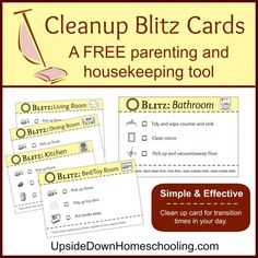 FREE printable Clean Up Blitz Cards : it's a quick and easy way to keep the house tidy so that the day can run more efficiently. It's also another great opportunity to teach your kids home stewardship and life skills.