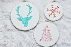 Embroidery hoop wall hangings for Christmas