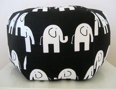 """18"""" Ottoman Pouf Floor Pillow Black White Elephant."""