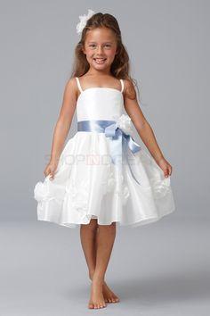 A-line strap flower ribbon  taffeta white knee-length flower girl dress