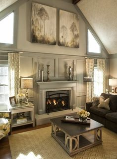 Painted wood wainscoting  | Living Room Redesign with Painted Wood Paneling