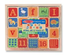 {Animal ABC + 123 Wooden Blocks Set} 20 solid-wood blocks feature letters and numbers, plus counting dots and pictures of familiar objects to illustrate each one. It's a classic learning manipulative that will lead to hours of counting, sorting, and building fun-in a modern color palette that today's families will love!