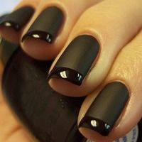matte nails, chanel, nail polish, tuxedo, french manicures, flat, black nails, matte black, french tips