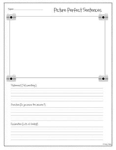 Picture Perfect Sentences, writing 3 types of sentences & Pen Pal Letter Templates