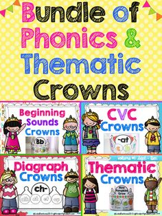 Bundle of crowns to ENGAGE students in  phonics and thematic concepts.