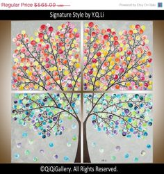 """36"""" Large Square art  Abstract Painting Original Modern Impasto four seasons Tree art Acrylic Painting Canvas Painting """"Brighten Your Day"""""""