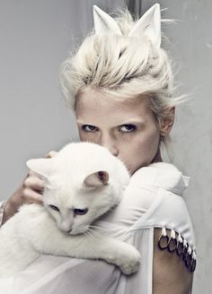 . models, cat fashion, kitty cats, white cats, ears, kittens, editorial photography, snow white, cat lady