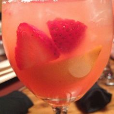 Outback's Strawberry Peach Sangria! 7.5 oz. Sutter Home White Zinfandel, 2.5 oz. Malibu Pineapple Rum, 2.5 oz. Pineapple Juice, 1.25 oz. Strawberry Puree, 1.5 oz. Peach Puree, Pour over ice.  Makes one pitcher, about 4 small servings. These are to die for!