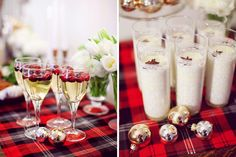 christmas cocktails, plaid table runner