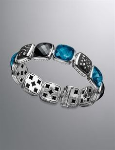 David Yurman Chiclet Bracelet, London Blue Topaz, 1 Row