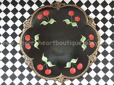 Elegant Black Serving Tray w Red Cherries  #Cherries #Tole #ECS #HandPainted