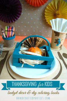 Thanksgiving kids table on a budget + DIY coloring books  {Handcrafted Parties}