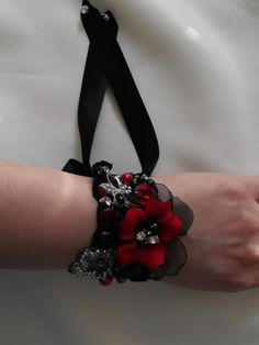 Red and Black designs Handmade and Stunning :  wedding black black and red flower bracelet bridal hair bridesmaids ceremony dress fascinator flowers jewelry reception red red and black accessories Il Fullxfull.304727429
