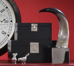 Birds, boxes, and a big horn.