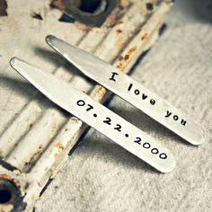 """Custom Collar Stays - Steel 2.5"""" Collar Stays - Personalized Gift for Father's Day, Anniversary, Birthday, Graduation, Wedding and Groomsmen on Etsy, $16.00"""