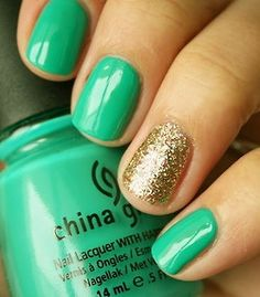 Emerald for spring nails #gold #teal #blue