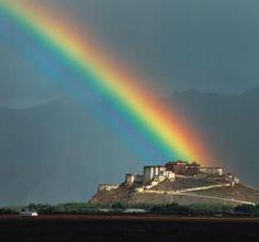 Rainbow over Potala Palace in Lhasa, Tibet